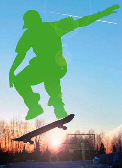 Fotomontage: Grüner Skater
