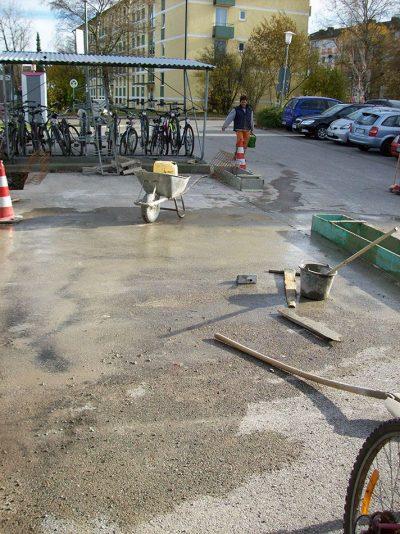 Bauarbeiten für neue Radstellplätze