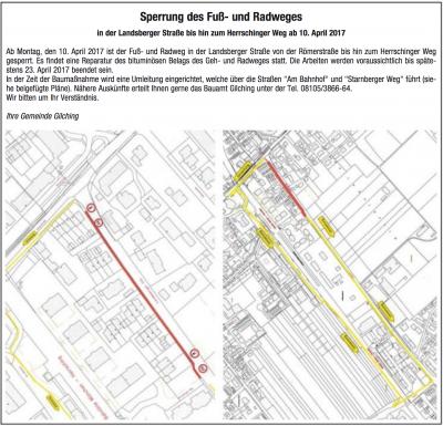 Ankündigung der Gemeinde Gilching zur Sperrung des Fußwegs und zur offiziellen Umleitung