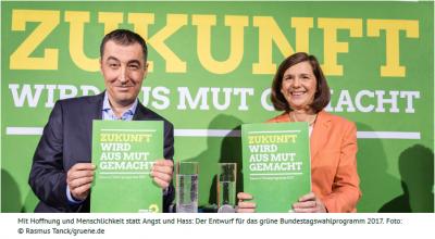 Mit Hoffnung und Menschlichkeit statt Angst und Hass: Der Entwurf für das grüne Bundestagswahlprogramm 2017. Foto: © Rasmus Tanck/gruene.de