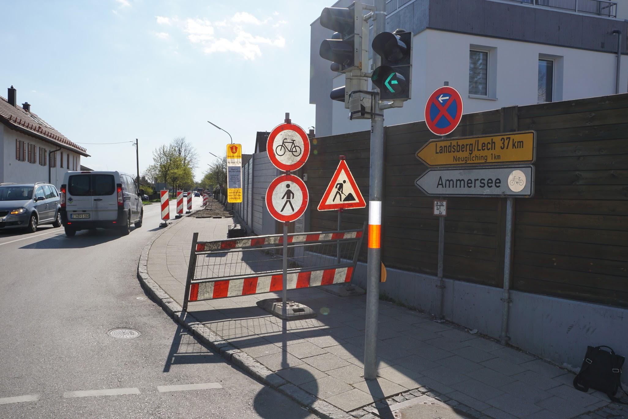 Baustelle Fußgängerweg Landsberger Straße (Foto: M.Pilgram)