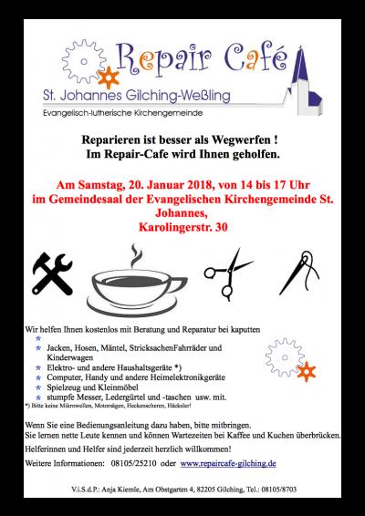 Plakat - Repair Café 20.1.2018