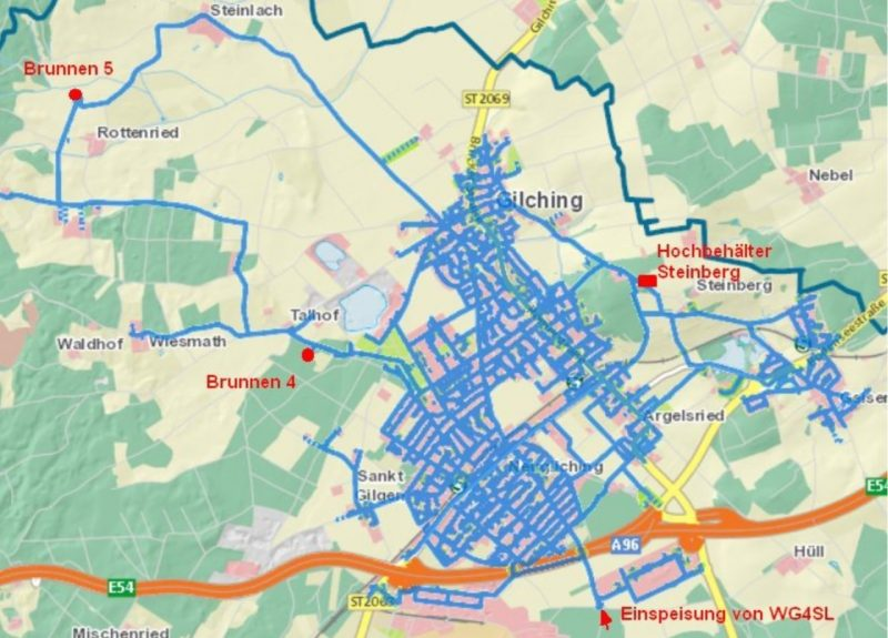Karte: Versorgungsnetz der Gemeinde Gilching