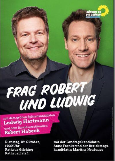 Plakat zur Veranstaltung mit Robert Habeck und Ludwig Hartmann