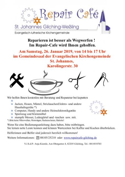 Plakat Repair Café 2019 01 26