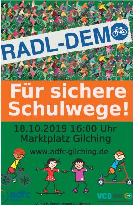 Ob zu Fuss, mit dem Rad oder mit dem Roller: Wir fordern sichere Schulwege in Gilching!