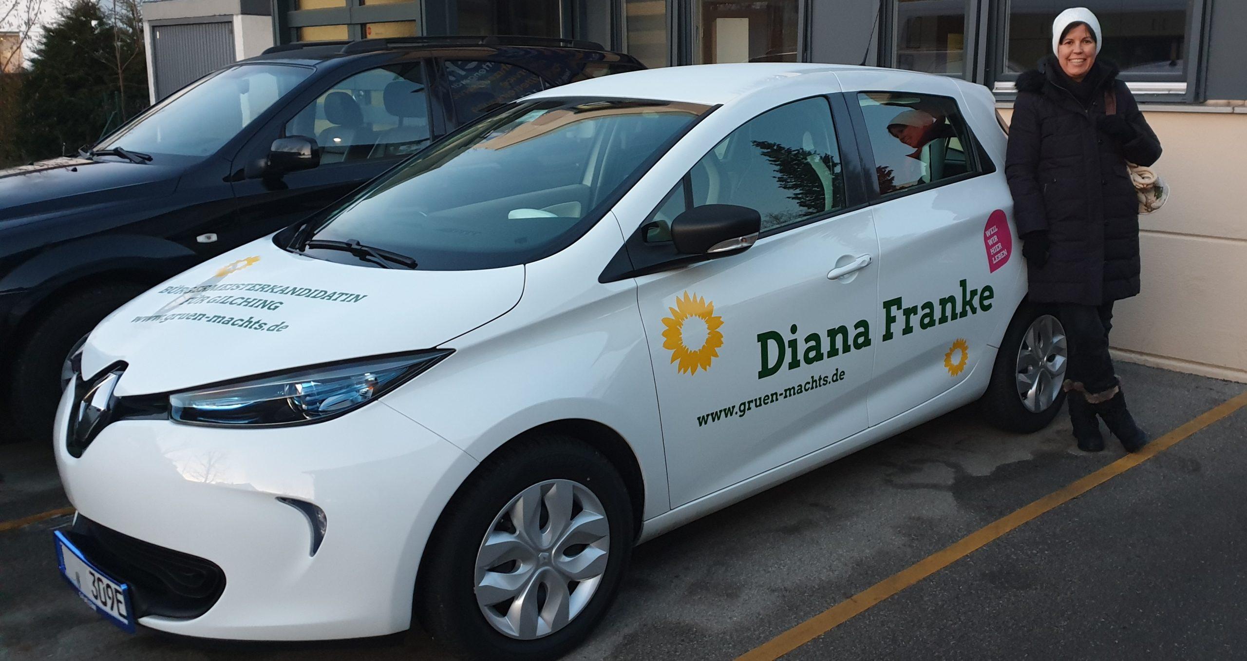 Elektroauto unserer Bürgermeisterkandidatin Diana Franke als Werbefläche für den Wahlkampf