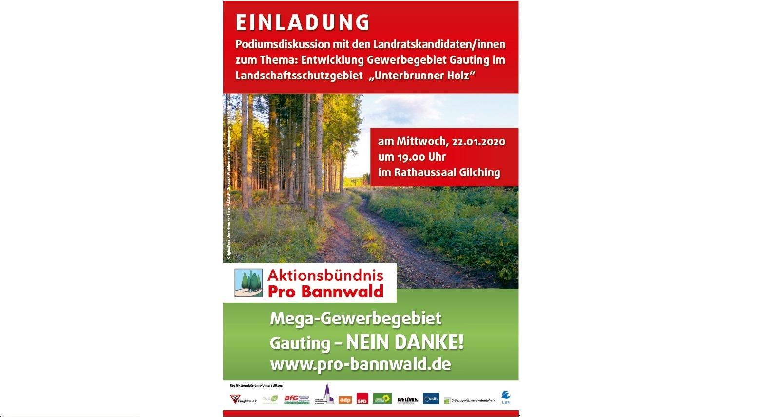 """Podiumsdiskussion mit allen Landratskandidat*innen zum Thema """"Entwicklung Gewerbegebiet Gauting im Landschaftsschutzgebiet Unterbrunner Holz"""""""